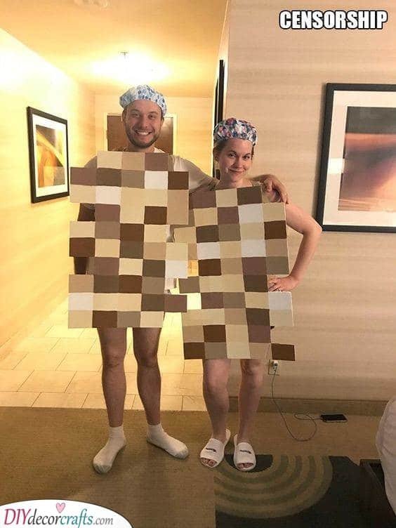 Censored with Pixels - Funny Carnival Costume Ideas