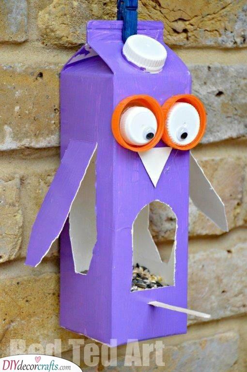 Make a Bird Feeder - A Juice Carton Owl