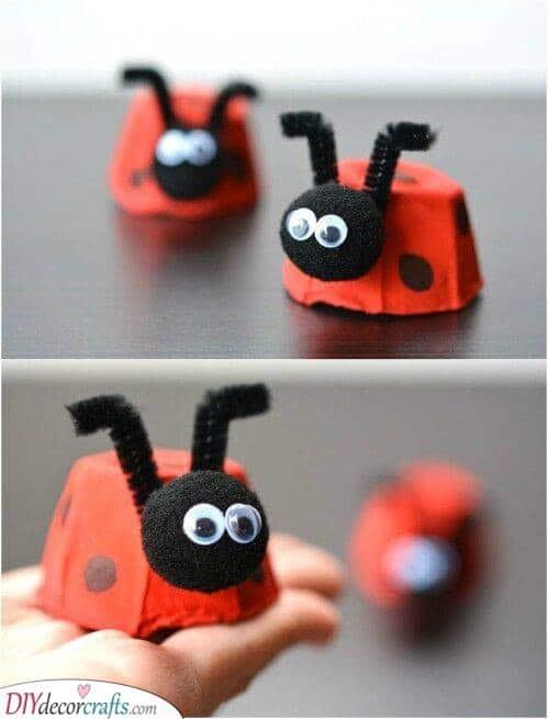 Tiny Ladybugs - Recycled Egg Cartons