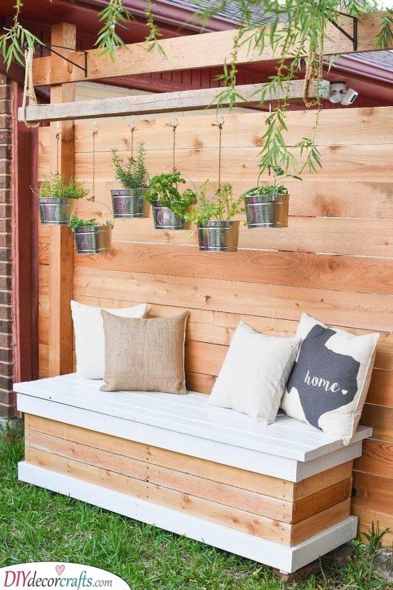 Adding Storage - DIY Outdoor Wooden Storage Bench