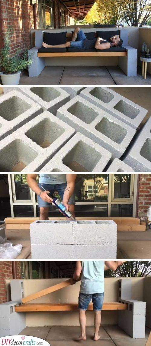 Concrete Block Bench - Easy and Simple