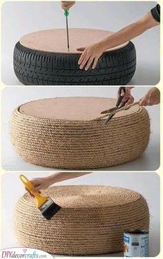 Transform a Tire - DIY Outdoor Wooden Storage Bench