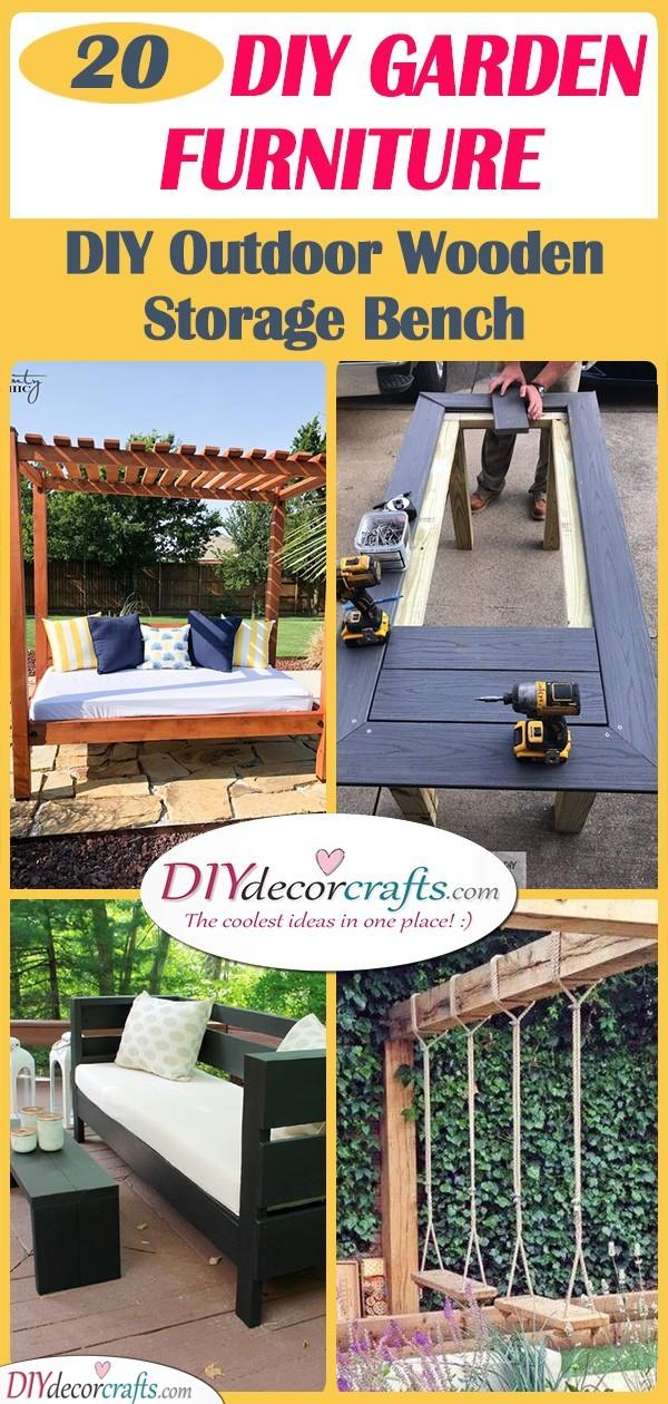 20 DIY GARDEN FURNITURE - DIY Outdoor Wooden Storage Bench