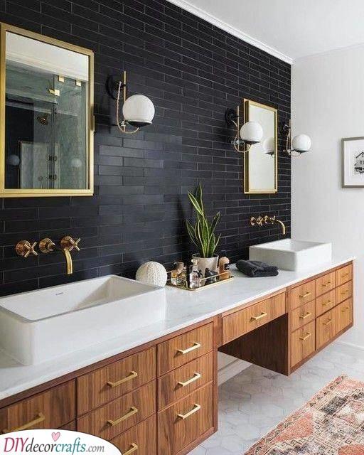 A Black Wall - Modern Master Bathroom Designs