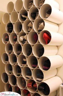 Reusing Pipes - Shoe Storage Ideas for Closets