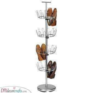 A Metal Rack - Shoe Storage Ideas for Closets