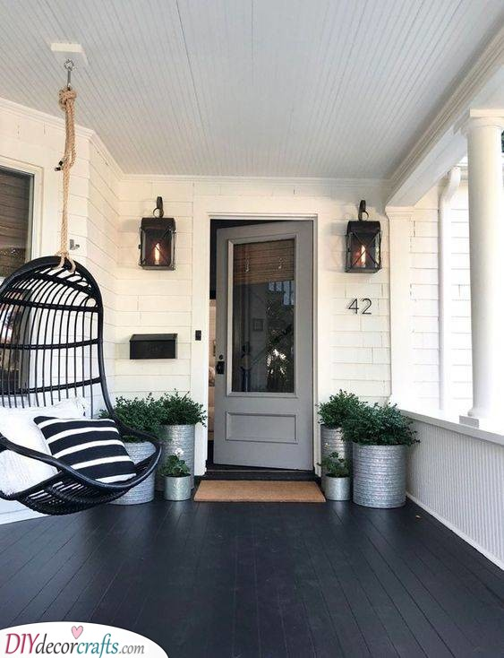 Simple Style - Small Front Porch Decorating Ideas on a Budget