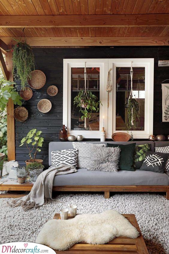 Boho Vibes - Small Front Porch Ideas on a Budget