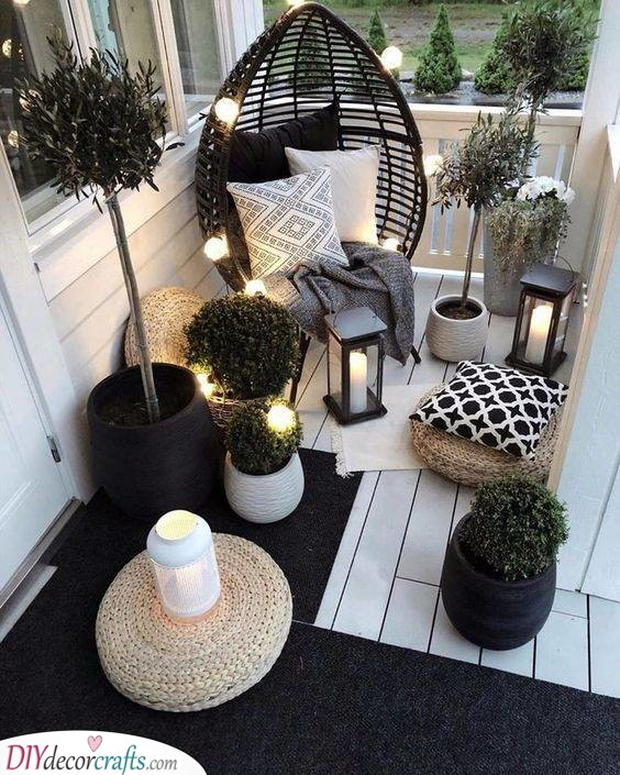 Light It Up - Small Front Porch Decorating Ideas on a Budget