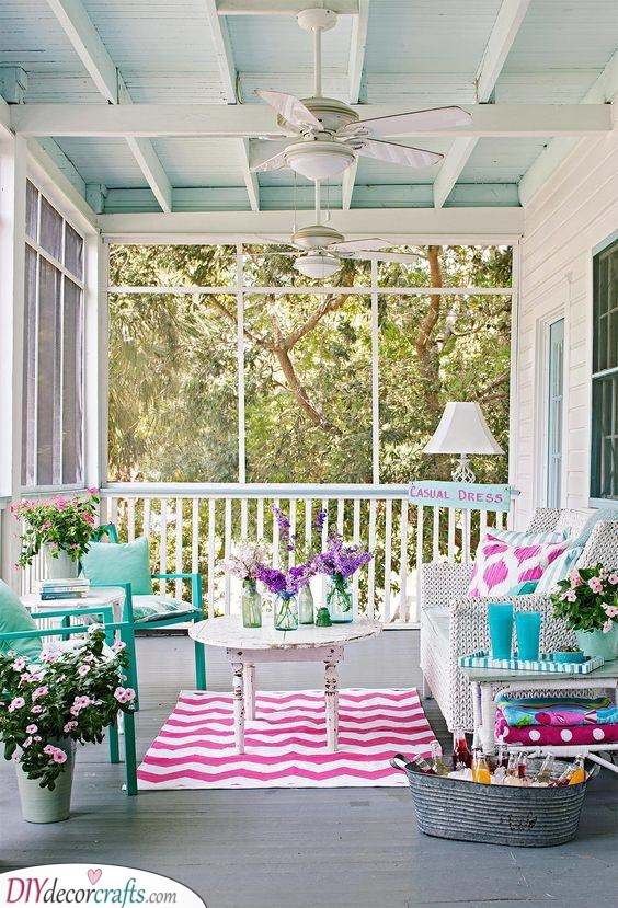 Pretty Pastel - Small Front Porch Decorating Ideas on a Budget