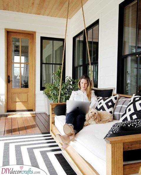 Modern Chic - Small Front Porch Decorating Ideas on a Budget