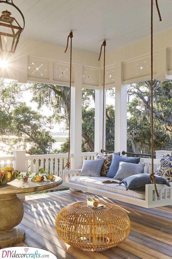 A Swinging Sofa - Back Porch Ideas on a Budget