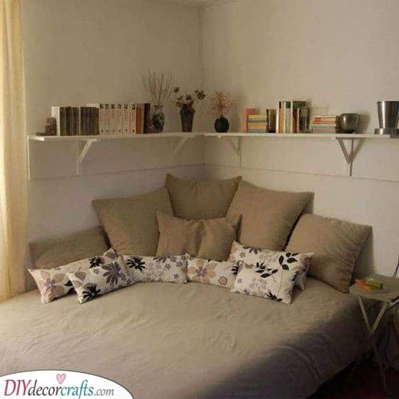 Floating Shelf - Storage Ideas for Small Bedrooms on a Budget