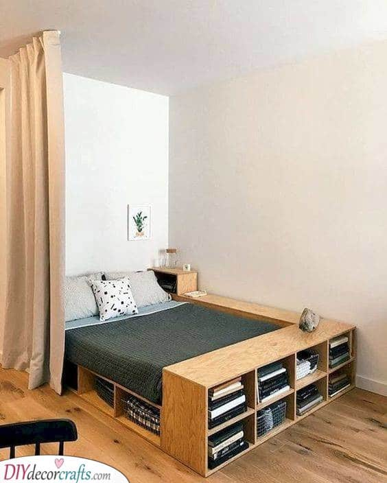 Creative Bed Frame - Storage Solutions for Small Bedrooms