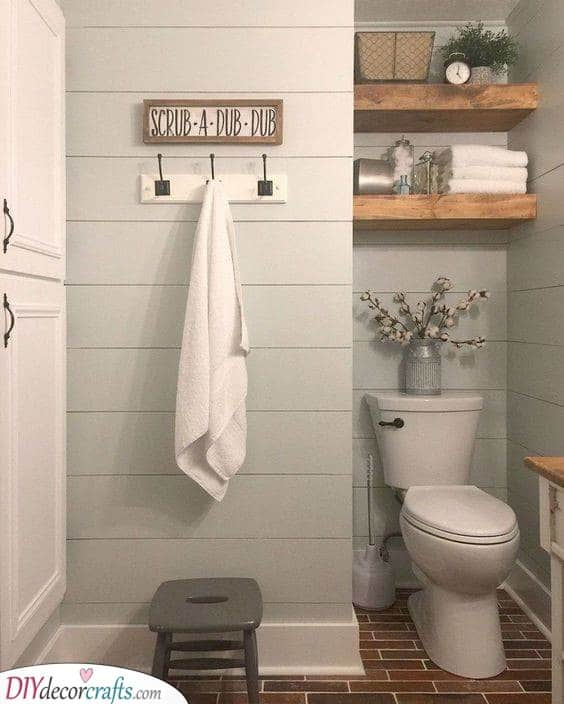 Shelves and Hangers - Simple Small Bathroom with Storage