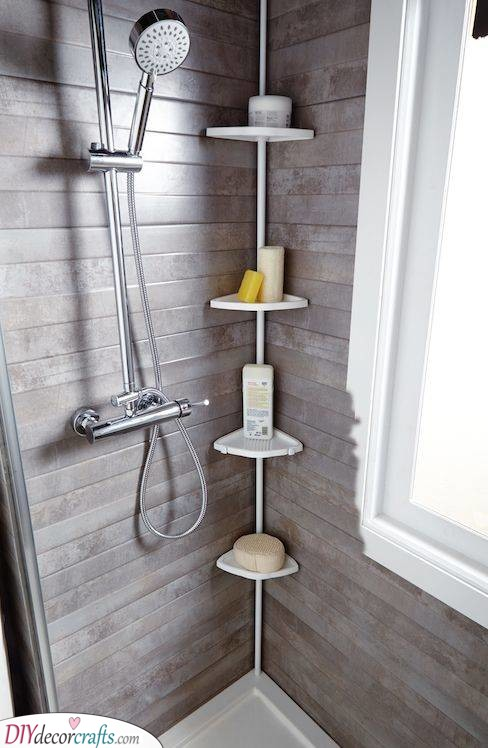 Shower Shelves - Small Bathroom with Storage