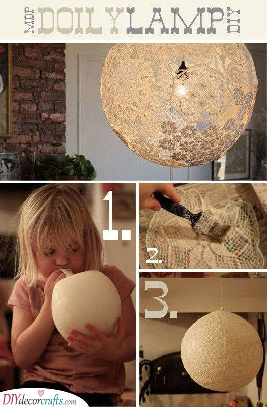 Handmade Doily Lamp - Lovely in Lace