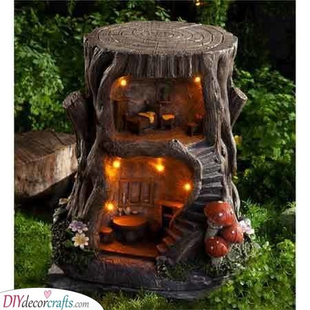 Filled with Fairy Lights - Fairy Garden Houses