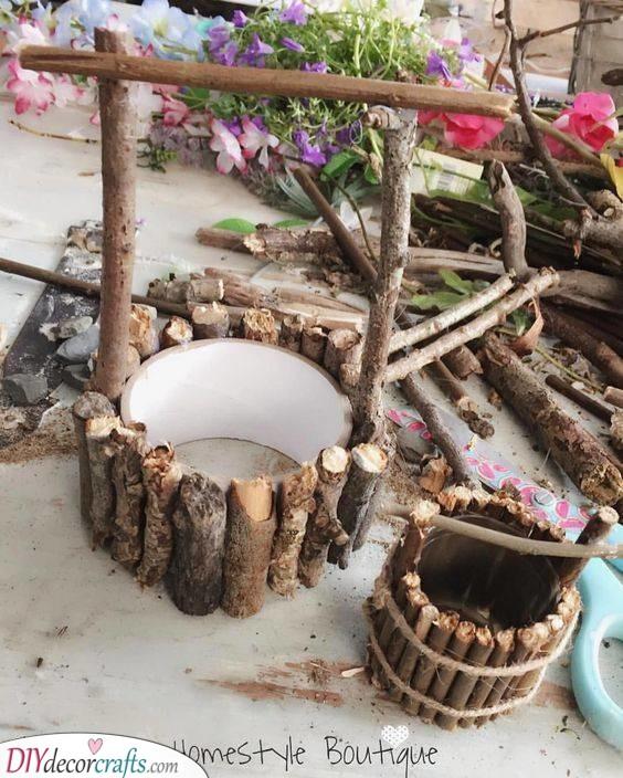 A Wishing Well - DIY Tree Stump Fairy House