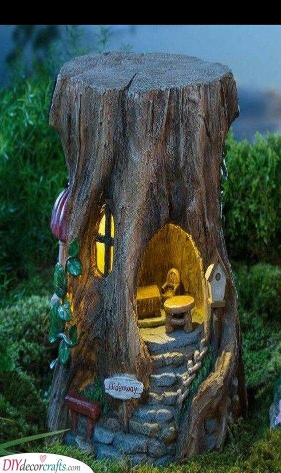A Wholesome Hideaway - DIY Tree Stump Fairy House