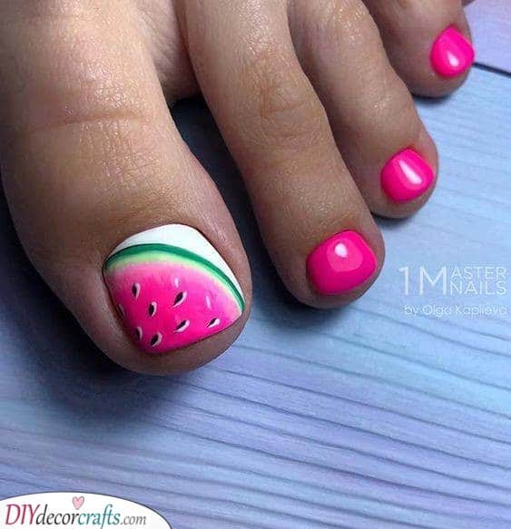 Wonderful Watermelon - Summer Pedicure Ideas