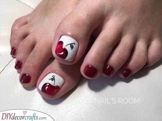 Cute Cherries - Summer Toenail Designs