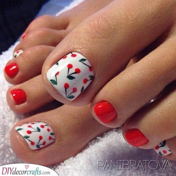 Crazy About Cherries - Summer Pedicure Ideas