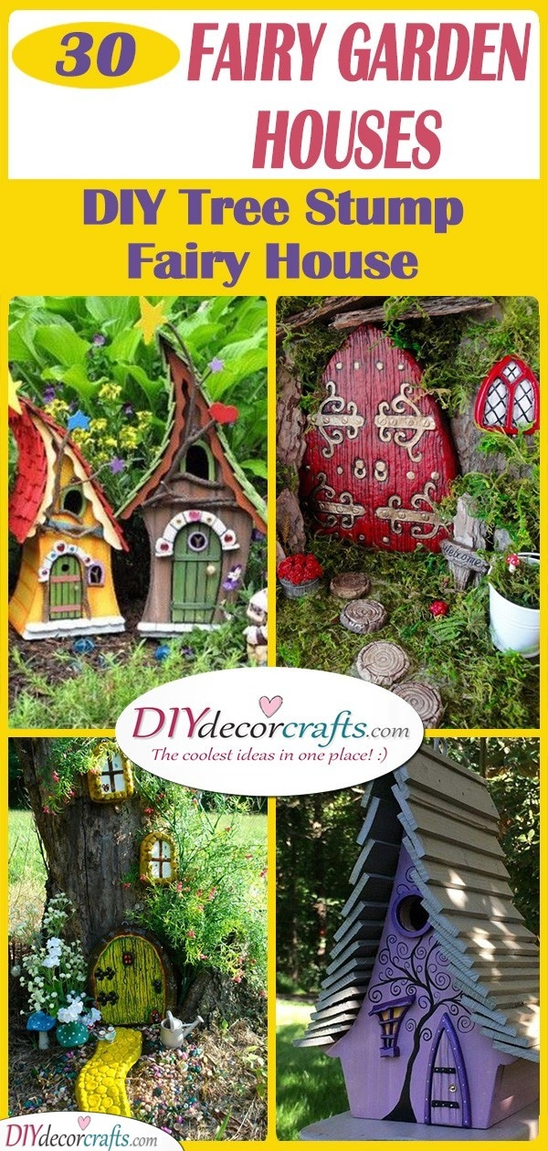 30 FAIRY GARDEN HOUSES - DIY Tree Stump Fairy House
