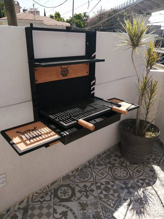 Mounted on a Wall - Outdoor Grill Island Ideas