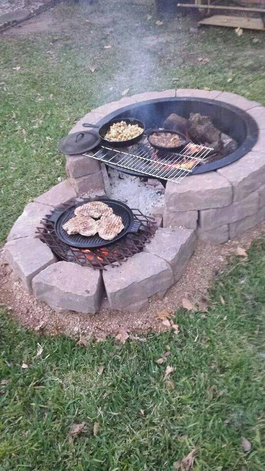 A Circular Fire Pit - Outdoor Grill Island Ideas