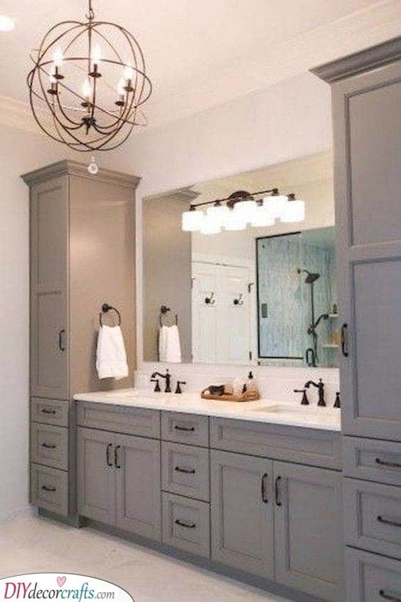 A Unique Chandelier - Modern Bathroom Lighting