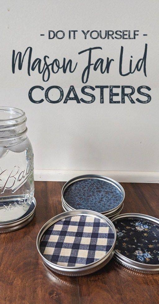 Jar Lid Coasters - Easy Mason Jar Craft Ideas