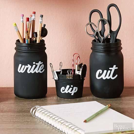 For Your Stationery - Mason Jar Decoration Ideas