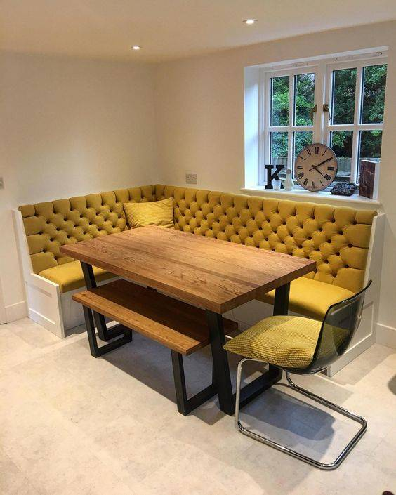 Mustard Banquette Seating - Plush and Comfortable