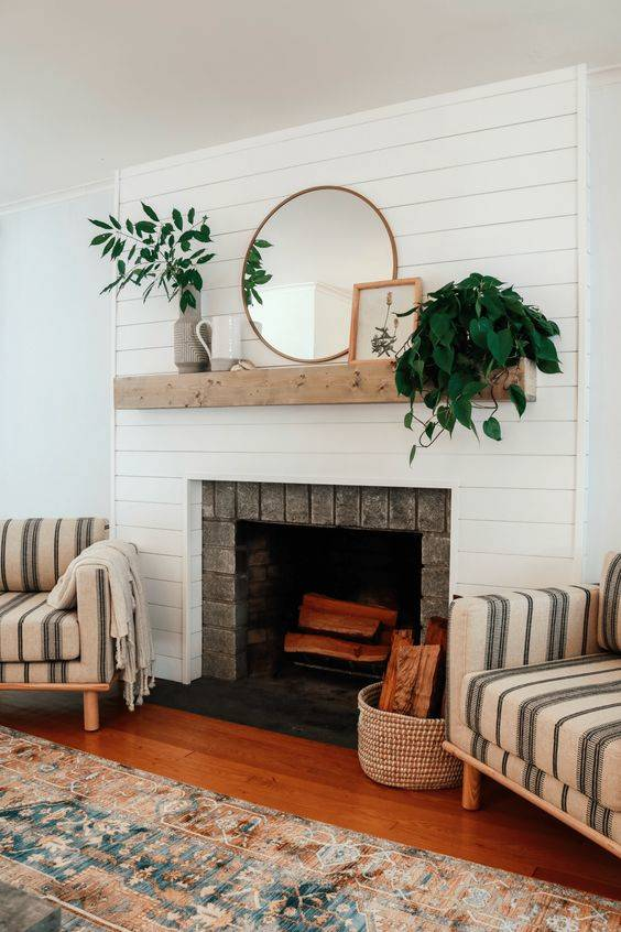 Washed in White - Simplistic Fireplace Design Ideas
