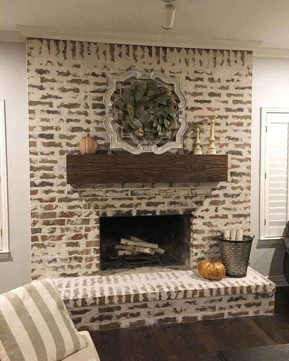 Mortar Washed Bricks - Living Room Ideas with Fireplace