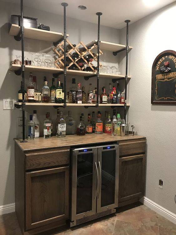 Metal and Wood - DIY Bar Shelves