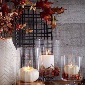 Pretty Pumpkin Candles - Autumn Living Room Decor