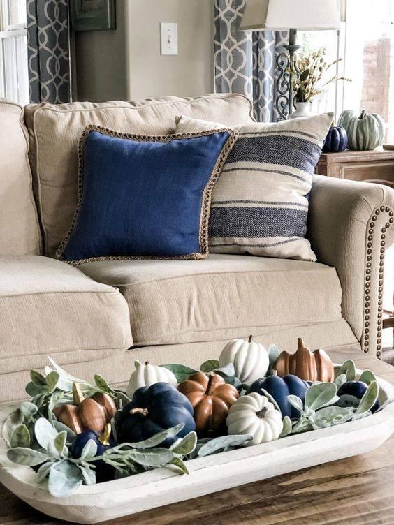 A Hint of Blue - Fall Living Room Decor Ideas