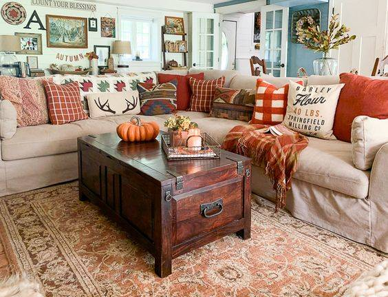 Friendly and Rustic - Autumn Living Room Decor