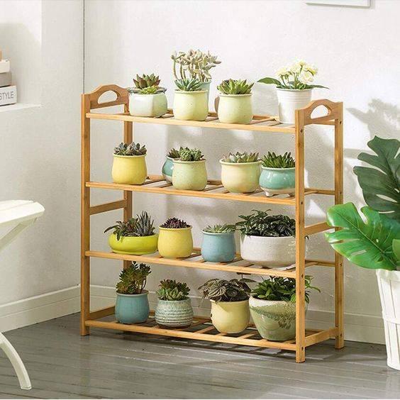 A Shelf Rack - Indoor Herb Garden Ideas