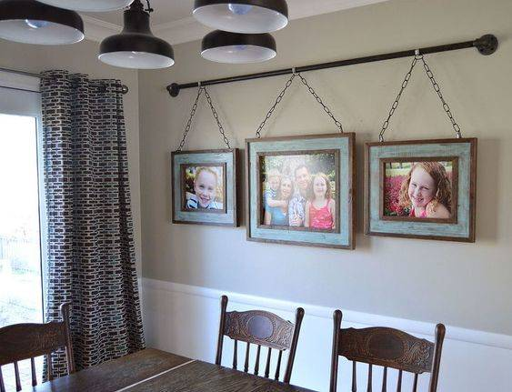 Family Photo Display - Hanging From a Pipe