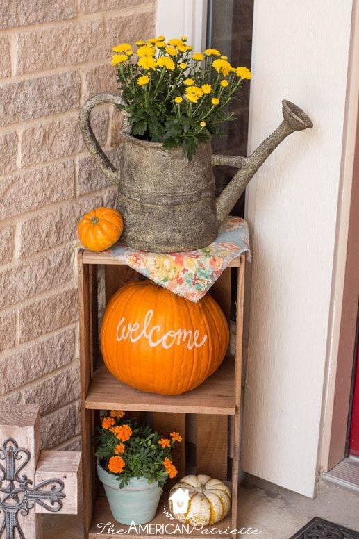 Cute and Rustic - Fall Porch Decorations