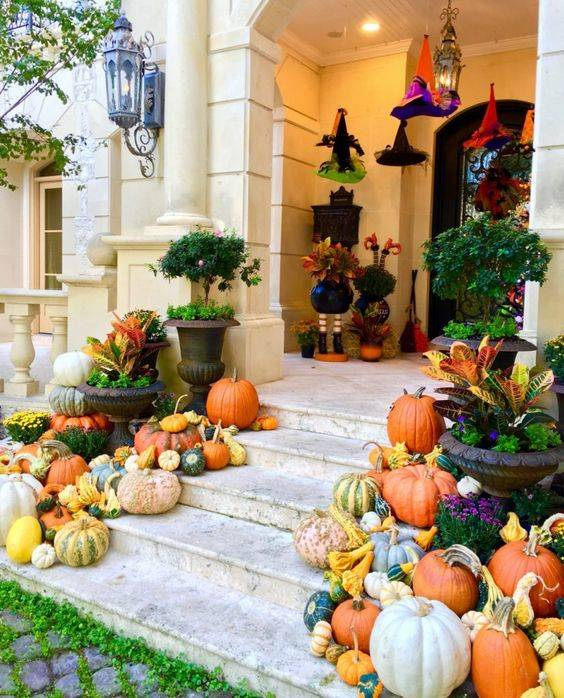 An Abundance of Pumpkins - Fall Porch Decorations