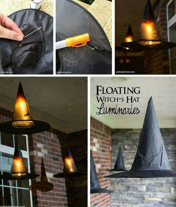 Witch Hat Luminaries - Fall Porch Decorations
