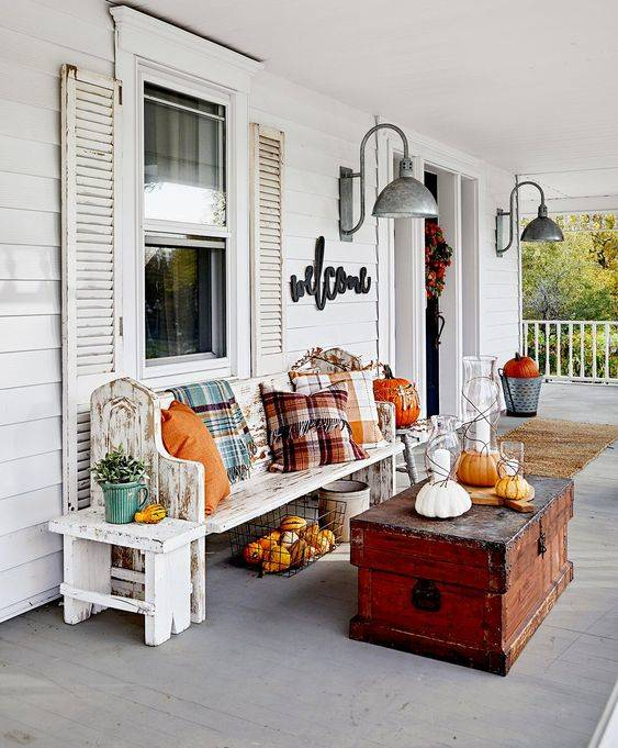 Plaid and Pumpkins - Front Porch Fall Decorating Ideas
