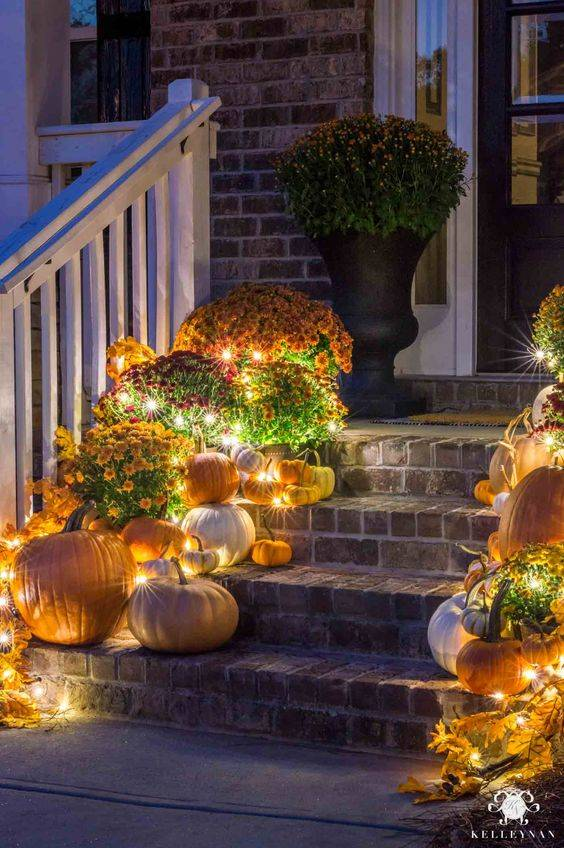 Lighting Up Your Stairs - Gorgeous Fall Porch Ideas