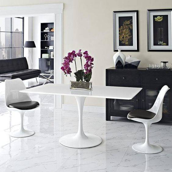 Vibrant Orchids - In a Monochrome Dining Room