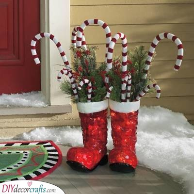 A Bright Pair of Boots - Santa Decorations for Outside