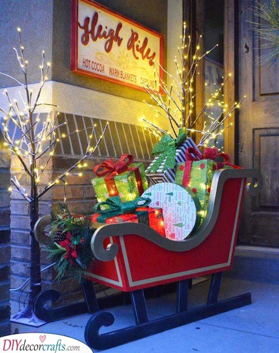 Your Own Outdoor Santa Sleigh - Filled with Gifts